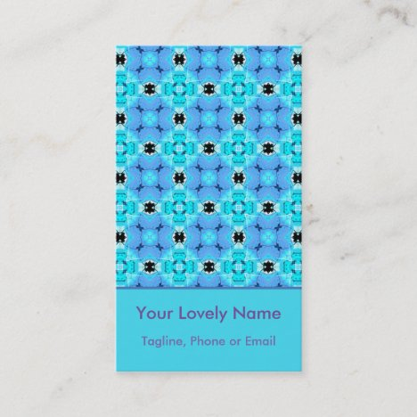Vibrant Modern Abstract Lattice Aqua Blue Quilt Business Card