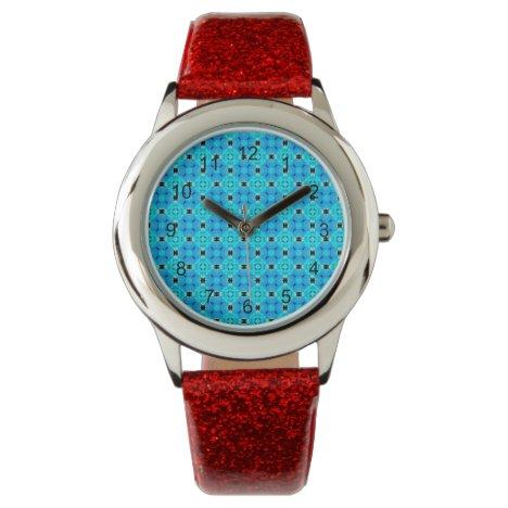 Vibrant Modern Abstract Lattice Aqua Blue Quilt Watch