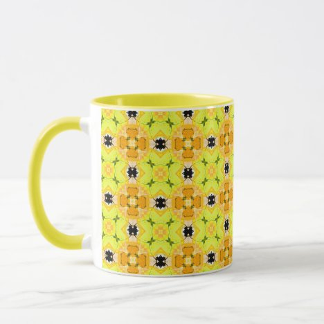Vibrant Modern Abstract Lattice Yellow Quilt Mug