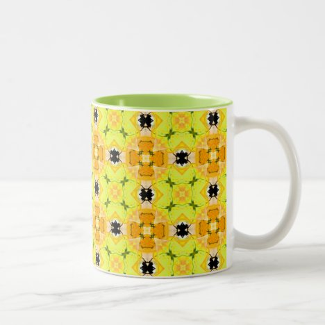 Vibrant Modern Abstract Lattice Yellow Quilt Two-Tone Coffee Mug