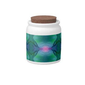 Vibrant Modern Blue Greens With Pink Dot Pattern Candy Jar
