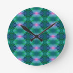 Vibrant Modern Blue Greens With Pink Dot Pattern Round Clock