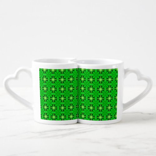 Vibrant Modern Lime Glowing Green Lattice Coffee Mug Set