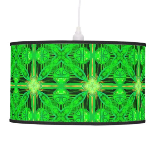 Vibrant Modern Lime Glowing Green Lattice Hanging Lamp