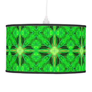 Vibrant Modern Lime Glowing Green Lattice Hanging Pendant Lamp