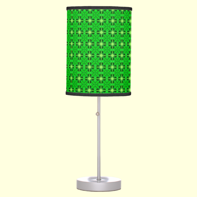 Vibrant Modern Lime Glowing Green Lattice Table Lamp
