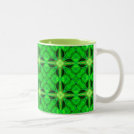 Vibrant Modern Lime Glowing Green Lattice Two-Tone Coffee Mug