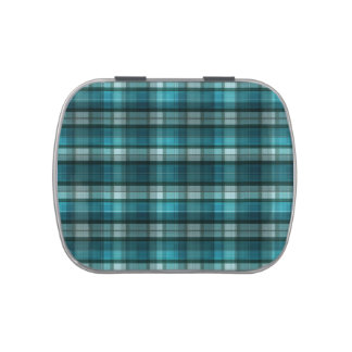 Vibrant & Modern Teal Plaid Pattern Candy Tins