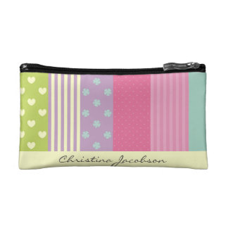 Vibrant Multi-Patterned Stripes Name Featuring Cosmetics Bags