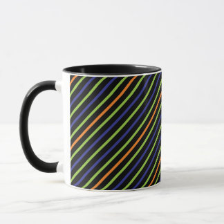 Vibrant Neon Diagonal Colorful Lines Green Orange Mug