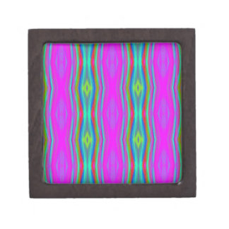 Vibrant Neon Girly Pink Teal Cool Pattern Jewelry Box