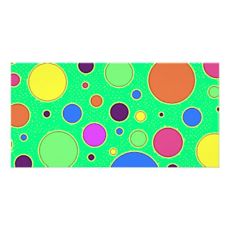 Vibrant Neon Green Polka-dots Card