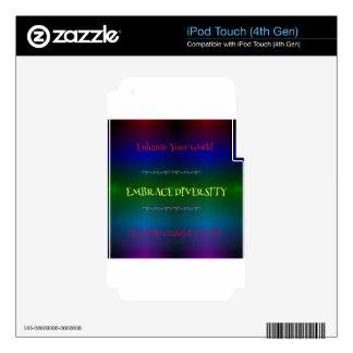 Vibrant Neon LGBTQ Embracing Diversity iPod Touch 4G Skin
