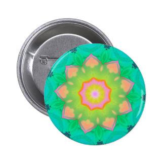 Vibrant Neon Pastel Mandela Pattern Pinback Button