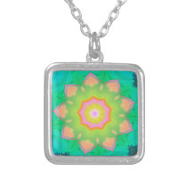 Vibrant Neon Pastel Mandela Pattern Silver Plated Necklace