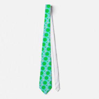 Vibrant Neon Pink Blue Green Pastel Mandela Neck Tie
