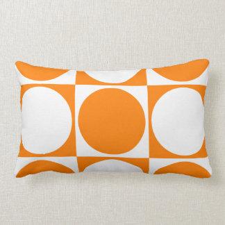 Vibrant Orange and Off-White Squares&Circles Lumbar Pillow