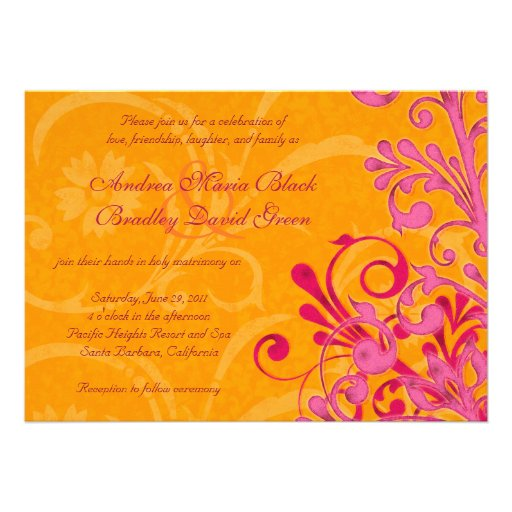 Vibrant Orange And Pink Floral Wedding Invitation 5 X 7