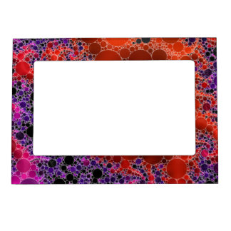 Vibrant Orange Blue Fractal Abstract Magnetic Frame