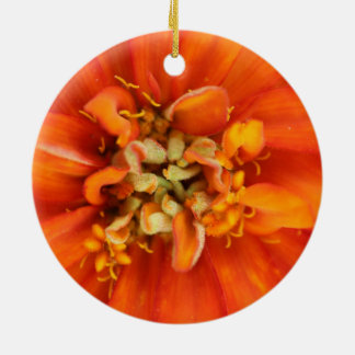 Vibrant Orange Flower Double-Sided Ceramic Round Christmas Ornament