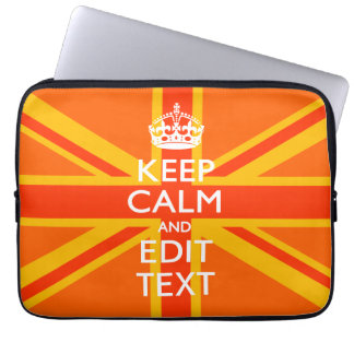 Vibrant Orange Keep Calm Your Text Union Jack Computer Sleeve