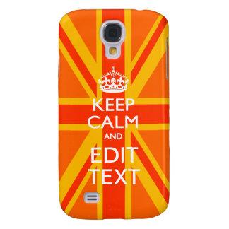 Vibrant Orange Keep Calm Your Text Union Jack Samsung Galaxy S4 Case