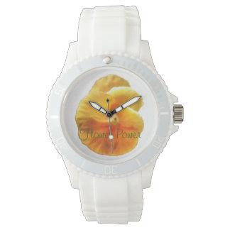 Vibrant Orange Pansy Botanical Natural Wristwatch