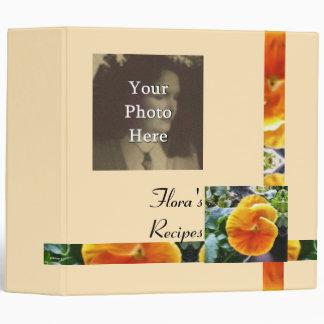 Vibrant Orange Pansy Cookbook Recipe Book 3 Ring Binders