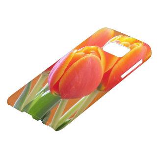 Vibrant Orange Tulip Flowers Close-Up Photograph Samsung Galaxy S7 Case