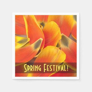 Vibrant Orange Tulip Petals Photograph Paper Napkin