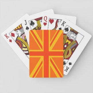 Vibrant Orange Union Jack British Flag Swag Playing Cards