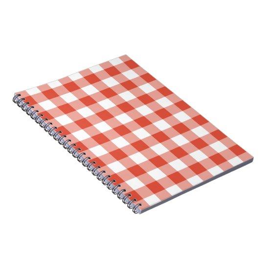 Vibrant Orange & White Gingham Pattern Notebook