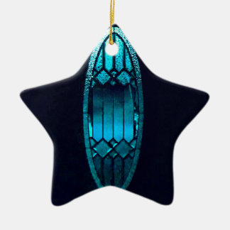 Vibrant Oval Teal Cut glass Refreshing Soul quote Ceramic Ornament