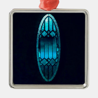 Vibrant Oval Teal Cut glass Refreshing Soul quote Metal Ornament