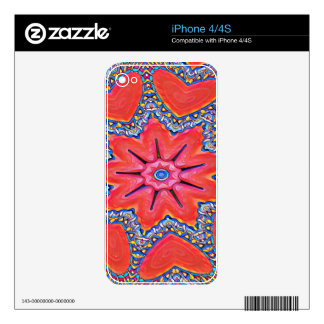 Vibrant Peach Rose Colored Kaleidoscope Pattern Skins For The iPhone 4S