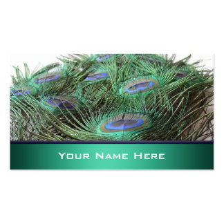 Vibrant Peacock Feathers Photo Double-Sided Standard Business Cards (Pack Of 100)