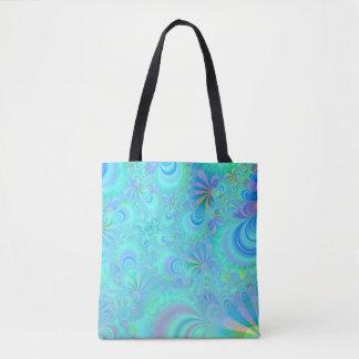 Vibrant Peacock Tail Allover Print Tote Bag