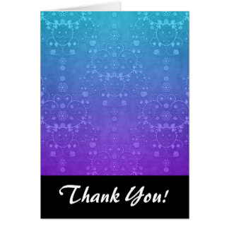 Vibrant Periwinkle to Aqua Fancy Damask Pattern Stationery Note Card