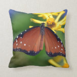 vibrant photographic brown butterfly pillow