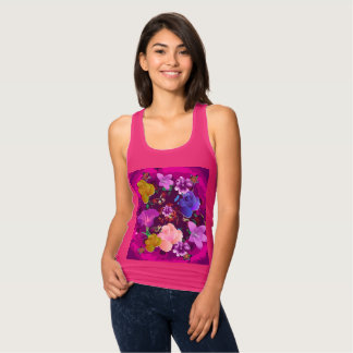 Vibrant Pink Abstract Floral Pink Racerback Tank
