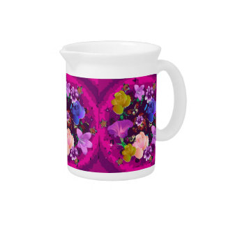 Vibrant Pink Abstract Floral Pitcher