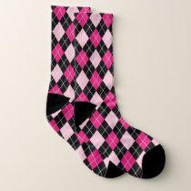 Vibrant pink and black Argyle Pattern Socks