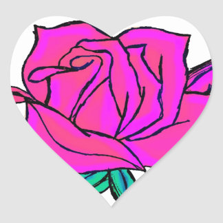 Vibrant pink and blue rose heart sticker