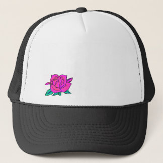 Vibrant pink and blue rose trucker hat