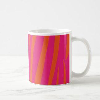 Vibrant Pink and Orange Zebra Print Coffee Mug