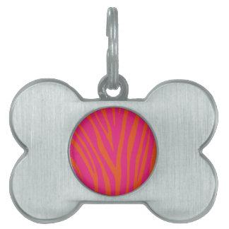 Vibrant Pink and Orange Zebra Print Pet Name Tag
