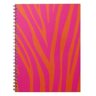 Vibrant Pink and Orange Zebra Print Spiral Notebook