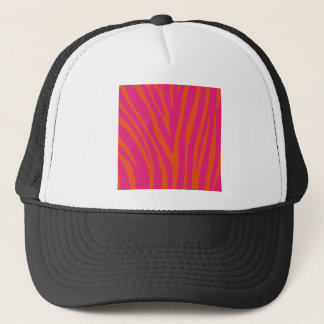 Vibrant Pink and Orange Zebra Print Trucker Hat
