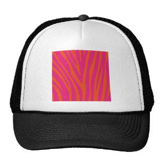 Vibrant Pink and Orange Zebra Print Trucker Hat