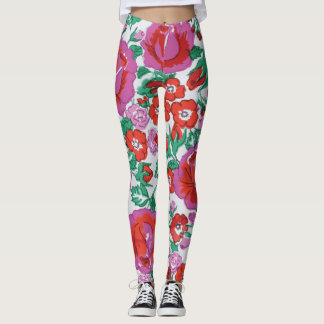 Vibrant Pink and Red Sketched Roses Leggings